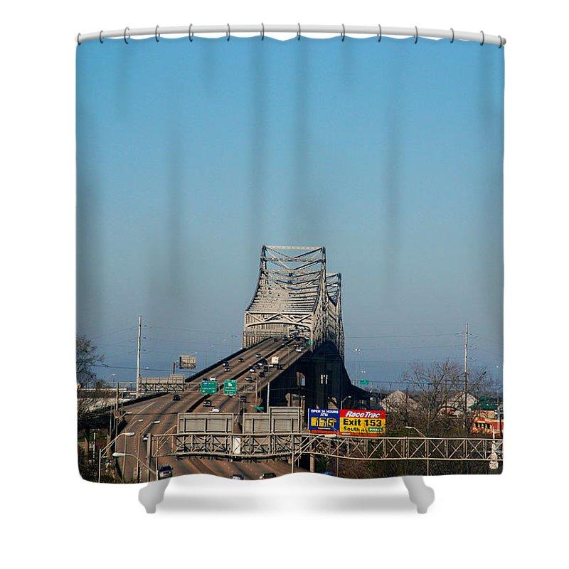 Horace Wilkinson Shower Curtain featuring the photograph The Horace Wilkinson Bridge Over The Mississippi River In Baton Rouge La by Susanne Van Hulst