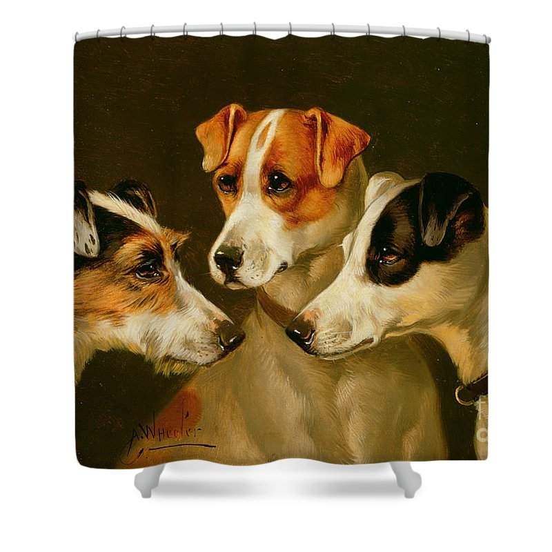 Dog Shower Curtain featuring the painting The Hounds by Alfred Wheeler