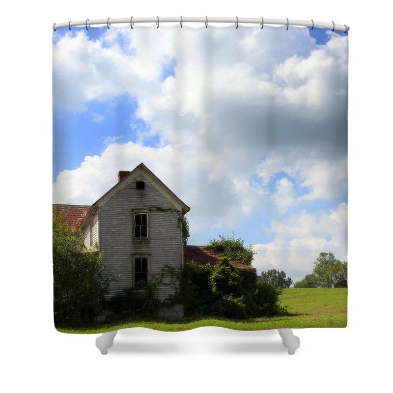 Haunted Houses Shower Curtain featuring the photograph The House On The Hill by Karen Wiles