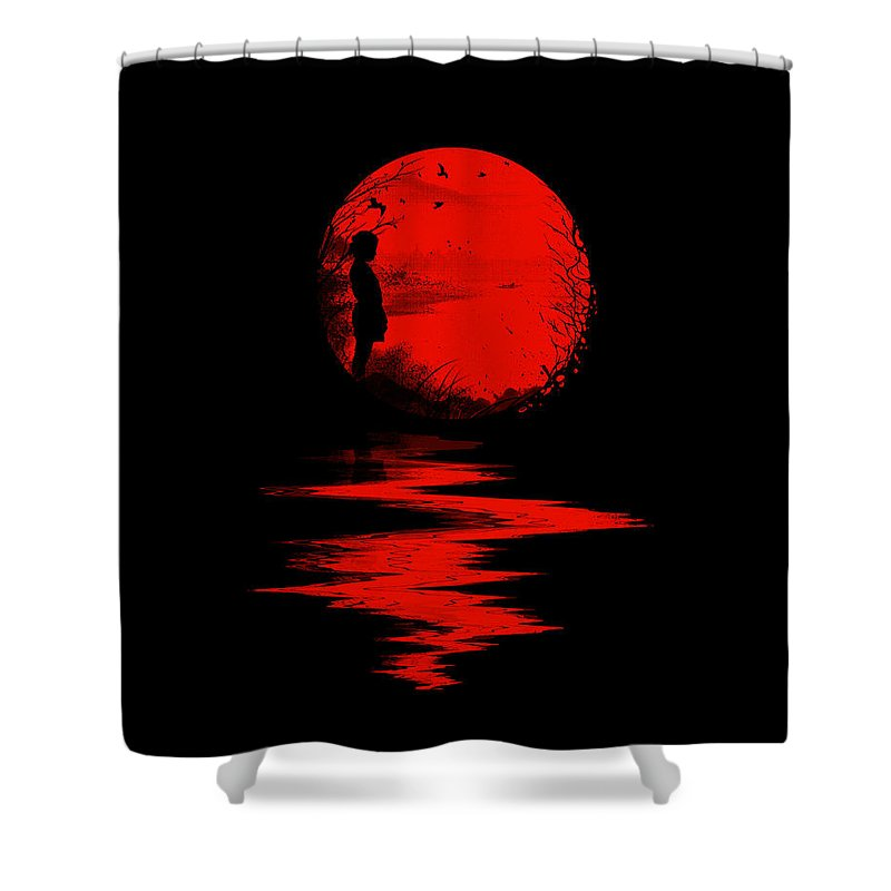 Art Shower Curtain featuring the digital art The Land of the Rising Sun by Nicebleed