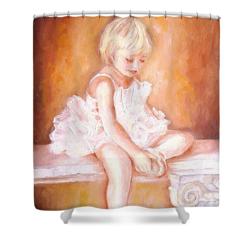 Ballerinas Shower Curtain featuring the painting The Little Ballerina by Carole Spandau