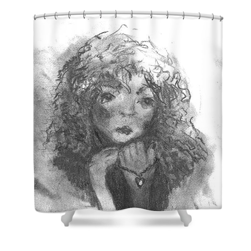 Folk Art Shower Curtain featuring the drawing The Locket by Laurie Lundquist