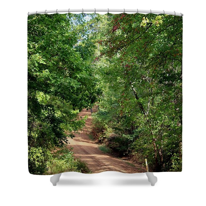 Landscape Shower Curtain featuring the photograph The Low Road by Betty Northcutt