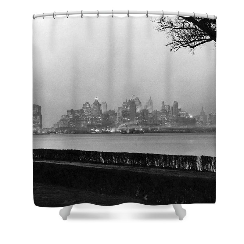 1920's Shower Curtain featuring the photograph The Lower New York Skyline by Underwood Archives