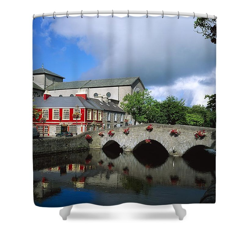 Bridge Shower Curtain featuring the photograph The Mall, Westport, Co Mayo, Ireland by The Irish Image Collection