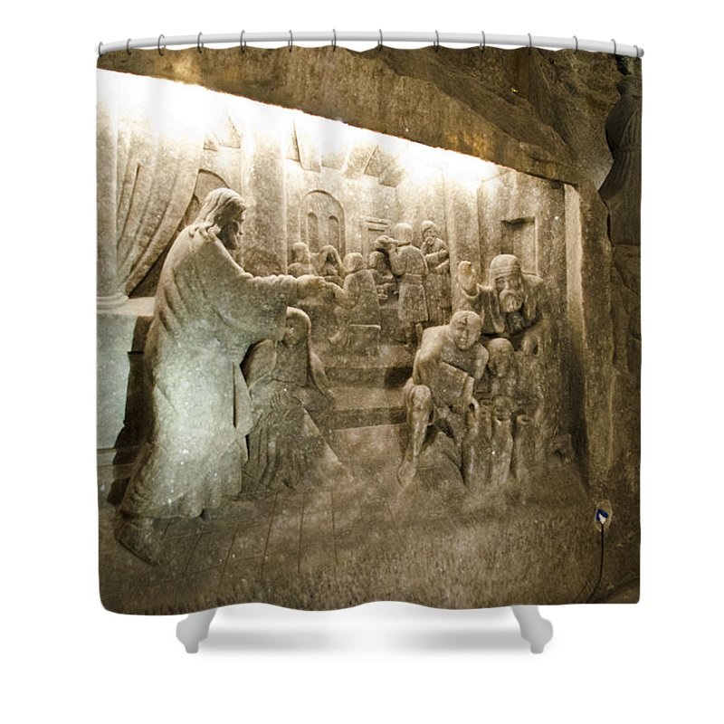 Wieliczka Salt Mine Shower Curtain featuring the photograph The Miracle At Cana In Galilee - Wieliczka Salt Mine by Jon Berghoff