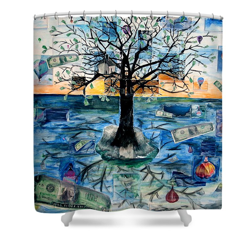 Hot Air Balloons Shower Curtain featuring the painting The Money Tree by Kate Fortin