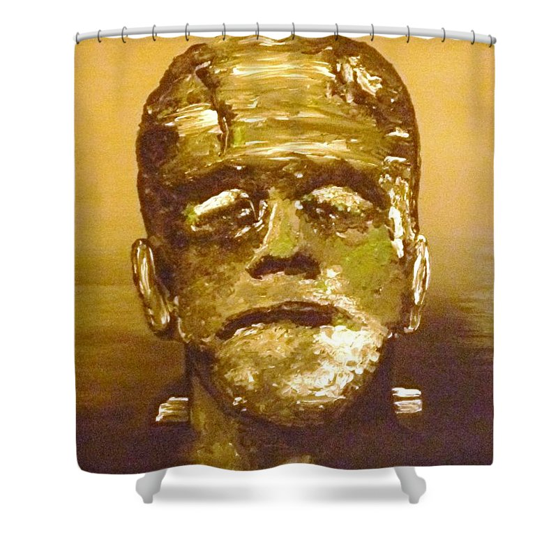 Sepia Shower Curtain featuring the painting The Monster II by Alys Caviness-Gober