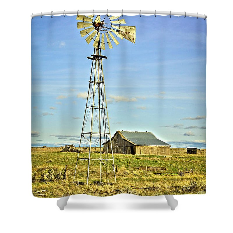 Windmill Shower Curtain featuring the photograph The Old Windmill by Steve McKinzie