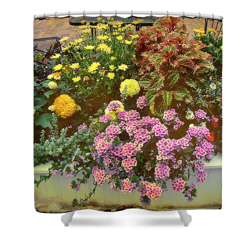 Floral Shower Curtain featuring the photograph The Patio At Coffee O - Falmouth - Cape Cod - Massachusetts by Mother Nature