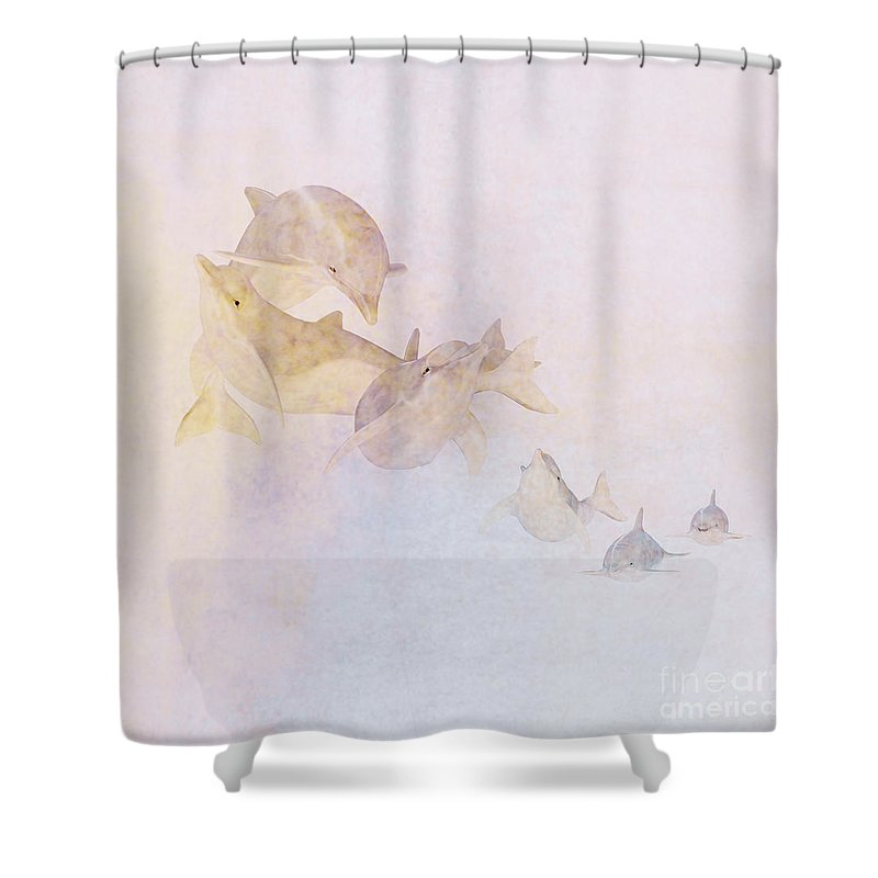 Dolphin Shower Curtain featuring the digital art The Pod by John Edwards