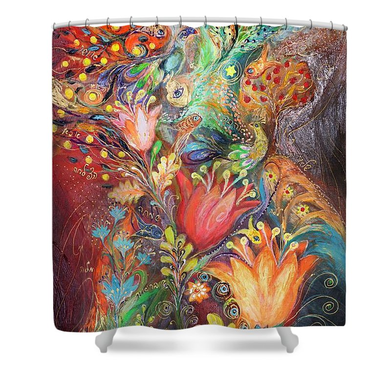 Judaica Shower Curtain featuring the painting The Princesses Of Garden by Elena Kotliarker