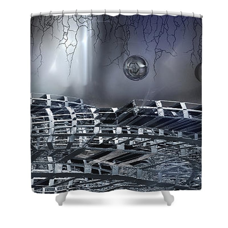 Phil Sadler Shower Curtain featuring the digital art The Realm Below by Phil Sadler