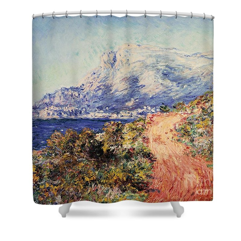 Claude Monet Shower Curtain featuring the painting The Red Road Near Menton by Claude Monet