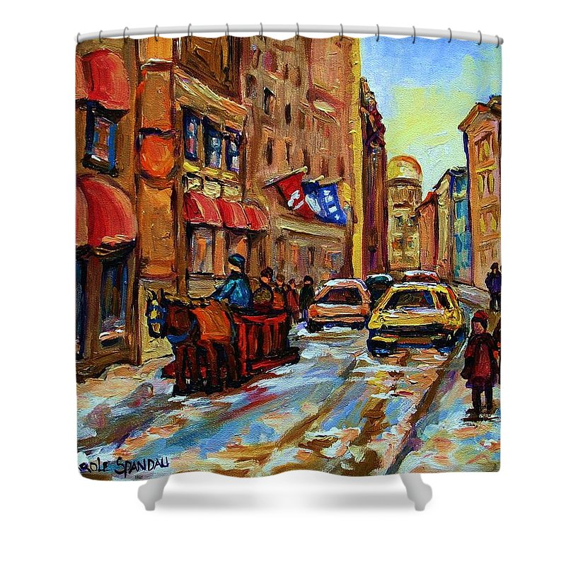 Horses Shower Curtain featuring the painting The Red Sled by Carole Spandau