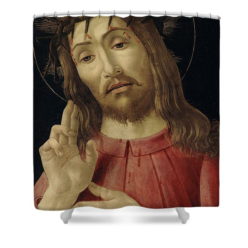 The Shower Curtain featuring the painting The Resurrected Christ by Sandro Botticelli