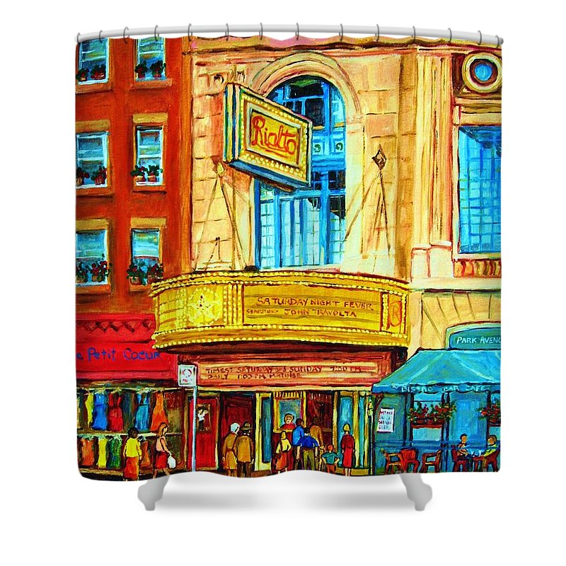 Street Scene Shower Curtain featuring the painting The Rialto Theatre by Carole Spandau
