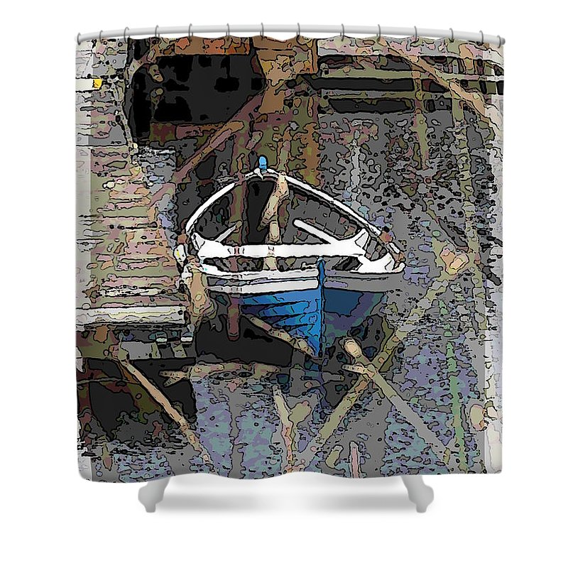 Boat Shower Curtain featuring the digital art The Rowboat by Tim Allen
