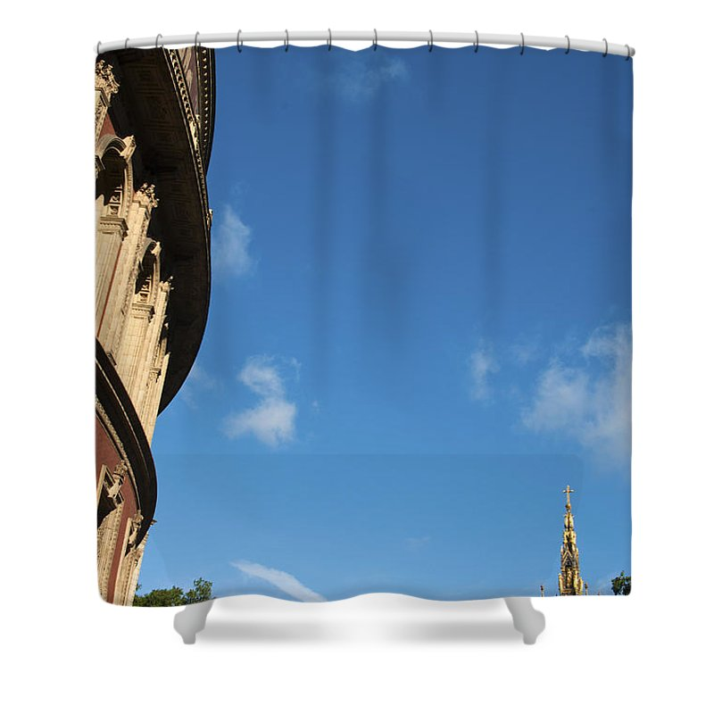 Albert Shower Curtain featuring the photograph The Royal Albert Hall And Albert Memorial by Andrew Michael
