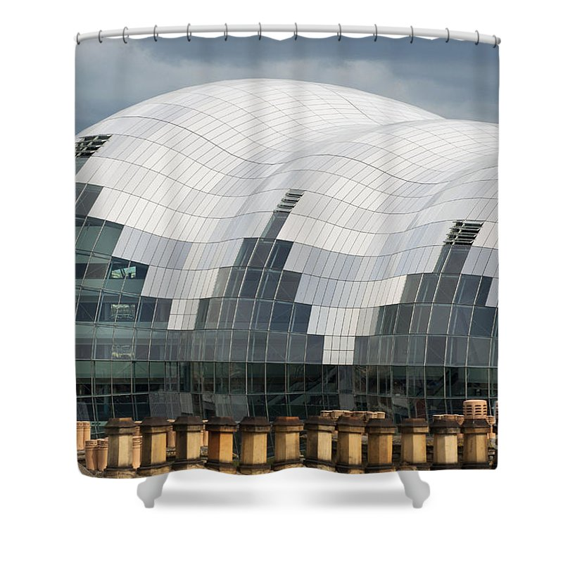 British Shower Curtain featuring the photograph The Sage Building by Andrew Michael