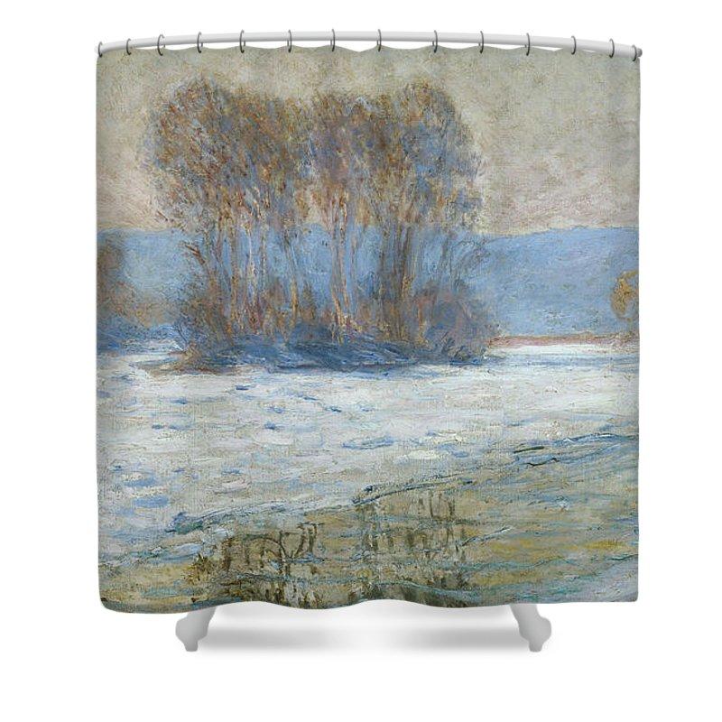 The Seine At Bennecourt Shower Curtain featuring the painting The Seine At Bennecourt by Claude Monet