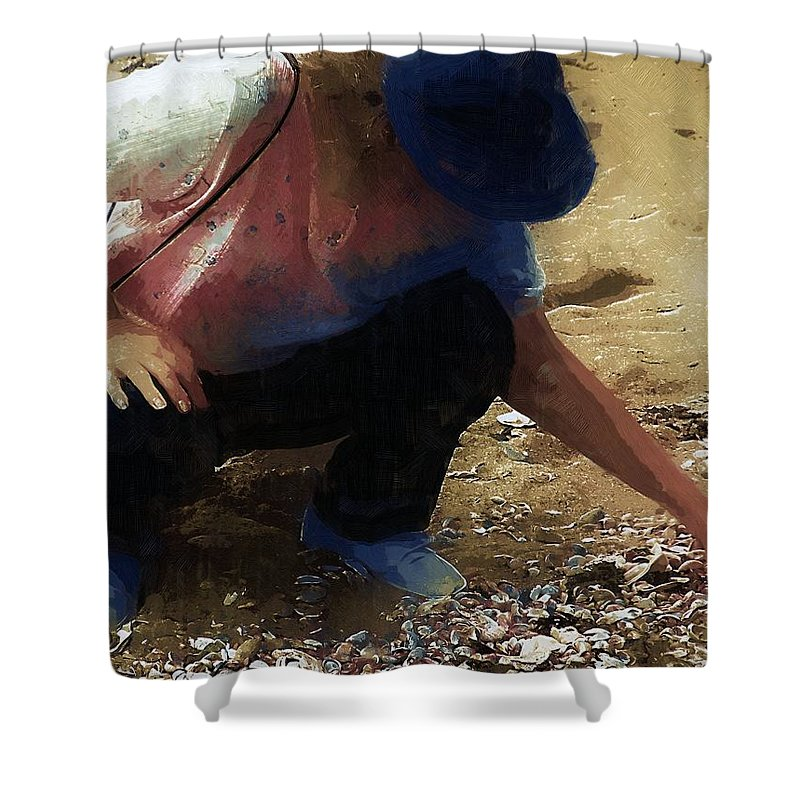 Autumn Shower Curtain featuring the painting The Shell Seeker by RC DeWinter