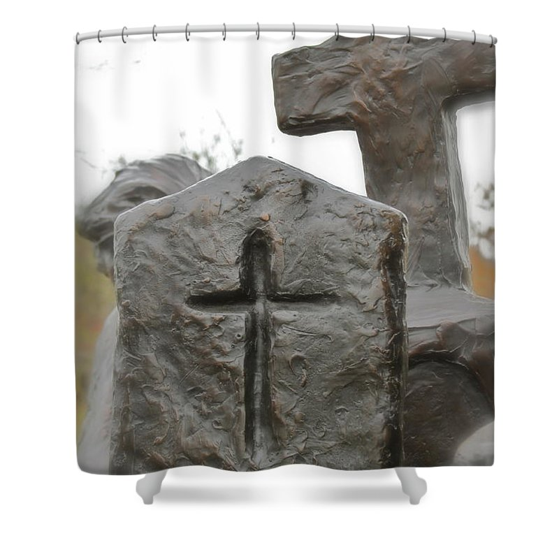 Cross Shower Curtain featuring the photograph The Sign by Rick Monyahan