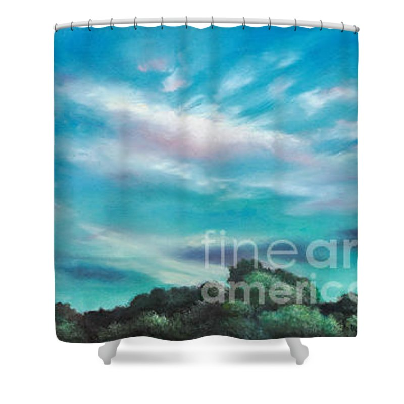 Blue Sky Shower Curtain featuring the painting The Sky That Day by Randy Burns