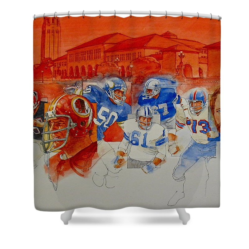 Acrylic Painting Shower Curtain featuring the painting The Stanford Legacy 2 Of 3 by Cliff Spohn