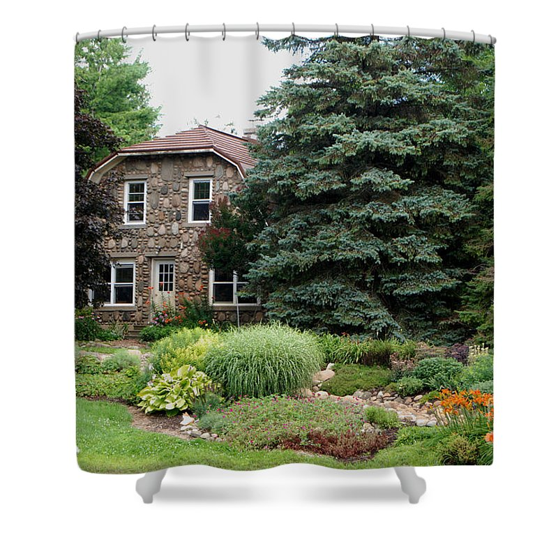 The Stone Cottage Shower Curtain featuring the photograph The Stone Cottage by Grace Grogan
