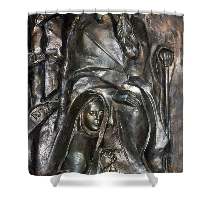 Submission Shower Curtain featuring the photograph The Submission At Nativity Church by Munir Alawi