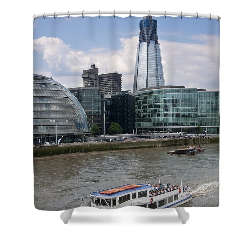 Britain Shower Curtain featuring the photograph The Thames London by Andrew Michael