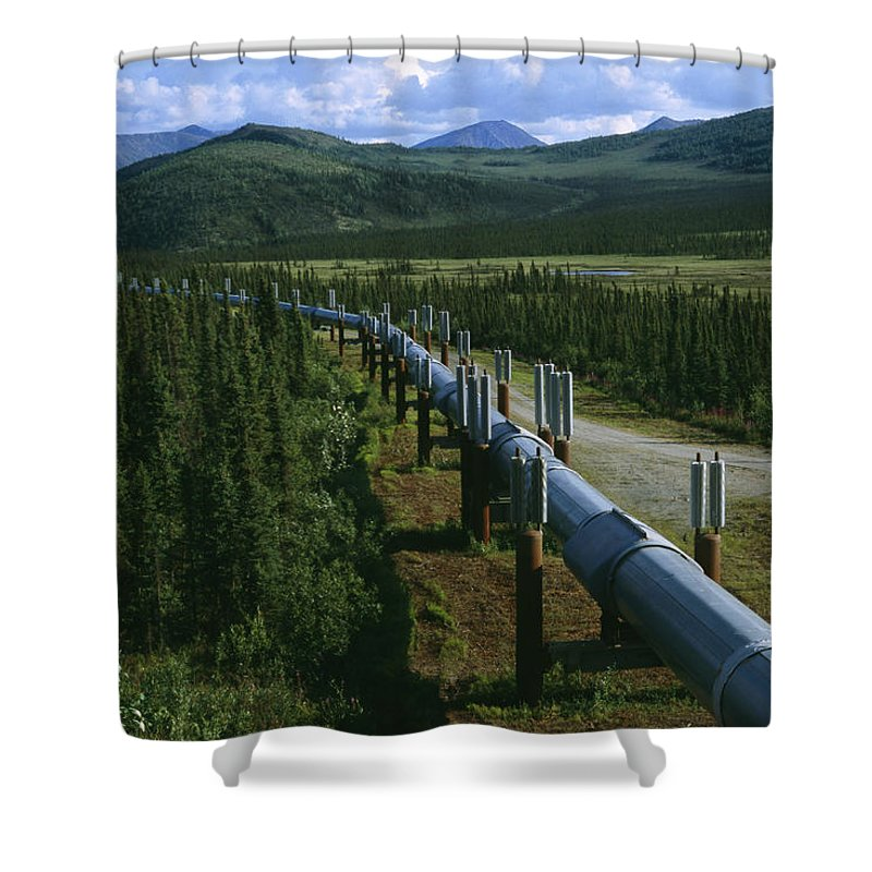 North America Shower Curtain featuring the photograph The Trans-alaska Pipeline Runs by Melissa Farlow