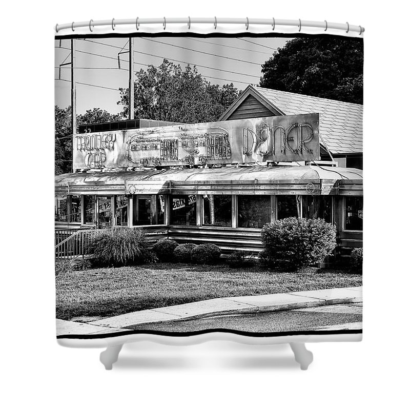 Trolley Car Shower Curtain featuring the photograph The Trolley Car Diner - Chestnut Hill Philadelphia by Bill Cannon