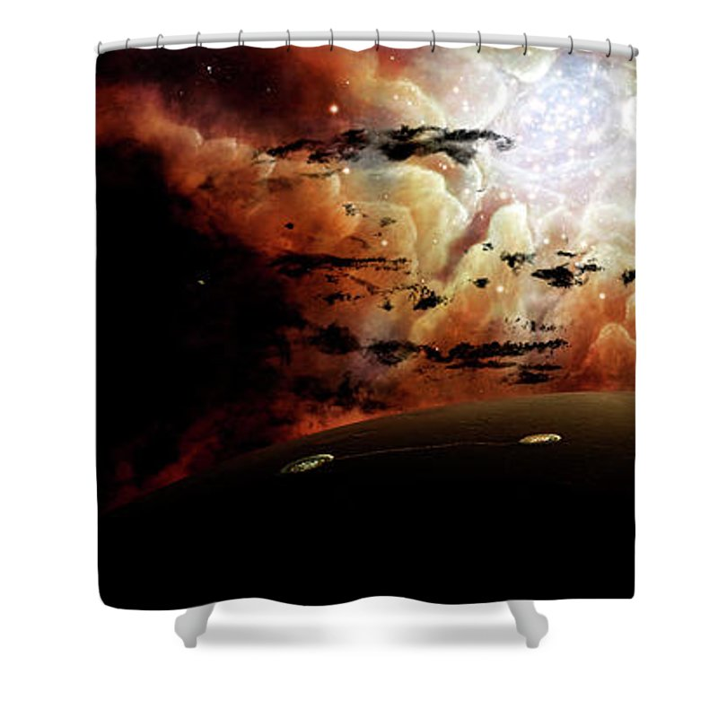 Artwork Shower Curtain featuring the digital art The View From A Busy Planetary System by Brian Christensen