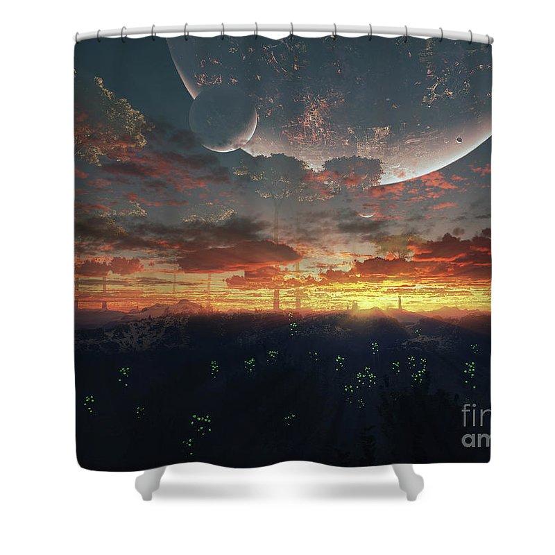 Artwork Shower Curtain featuring the digital art The View From An Alien Moon Towards by Brian Christensen