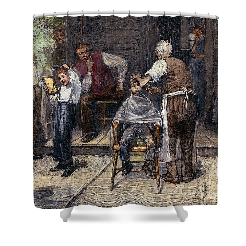 1883 Shower Curtain featuring the photograph The Village Barber, 1883 by Granger