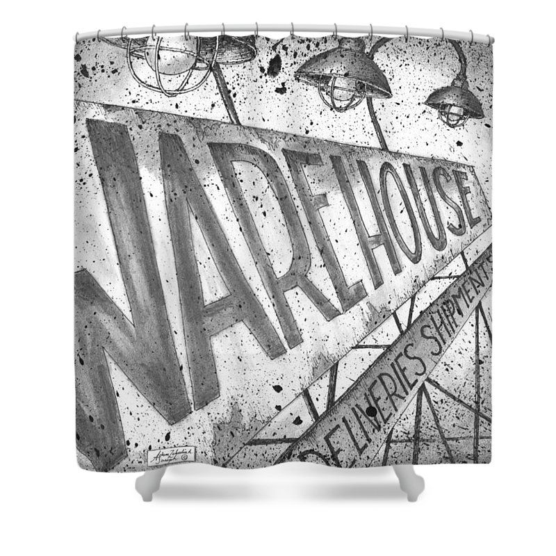 Art Shower Curtain featuring the drawing The Warehouse by Adam Zebediah Joseph