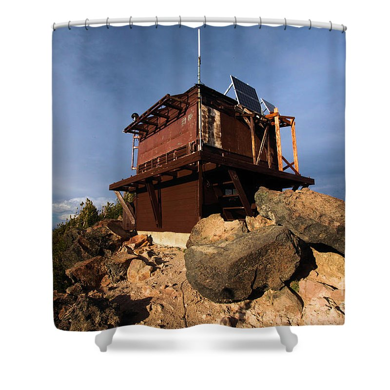 Crater Lake National Park Shower Curtain featuring the photograph The Watchman Tower by Adam Jewell