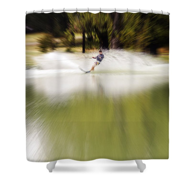 The Water Skier Shower Curtain featuring the photograph The Water Skier 1 by Douglas Barnard