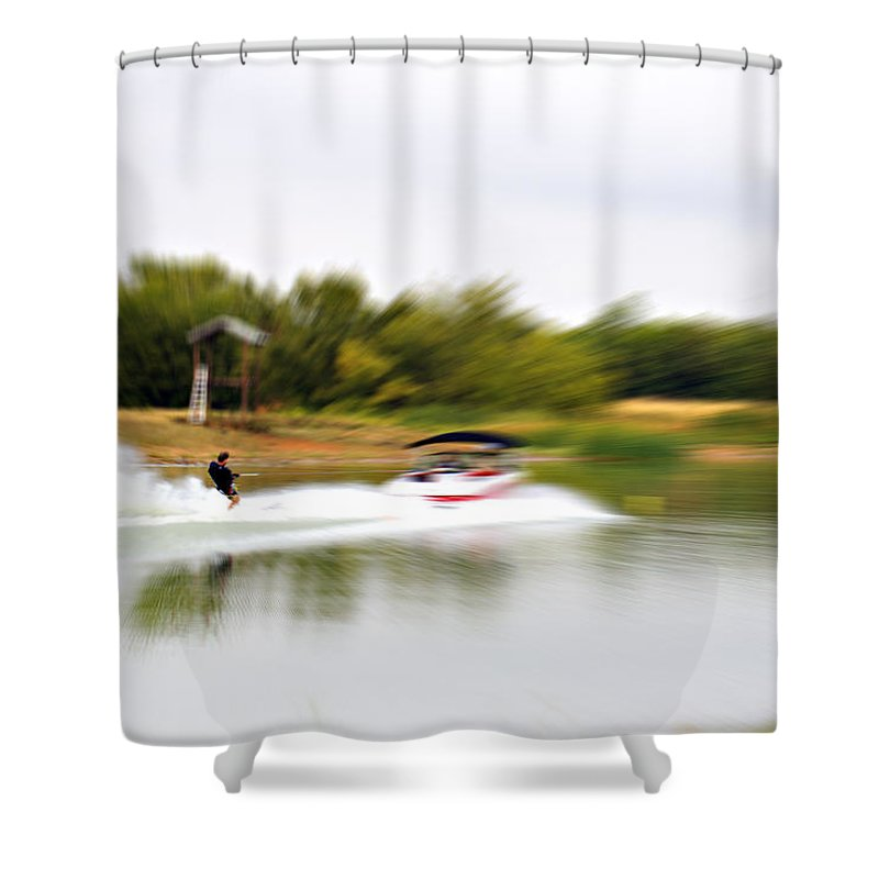 The Water Skier Shower Curtain featuring the photograph The Water Skier 3 by Douglas Barnard