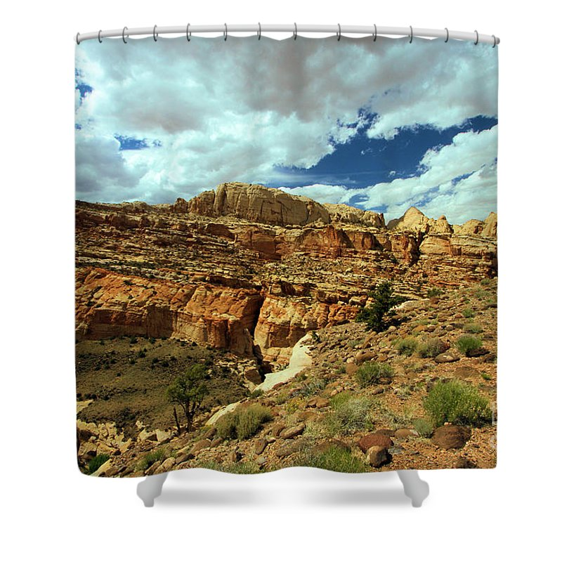 Capitol Reef National Park Shower Curtain featuring the photograph The Waterpocket Fold by Adam Jewell