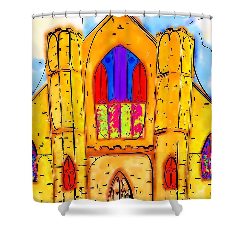 Wedding Shower Curtain featuring the digital art The Wedding Chapel by Alec Drake