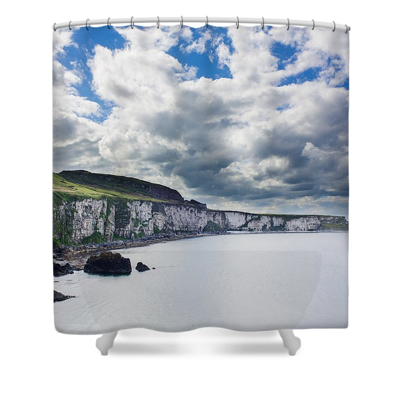 Blue Shower Curtain featuring the photograph The White Cliffs Of Carrick A Rede by Semmick Photo