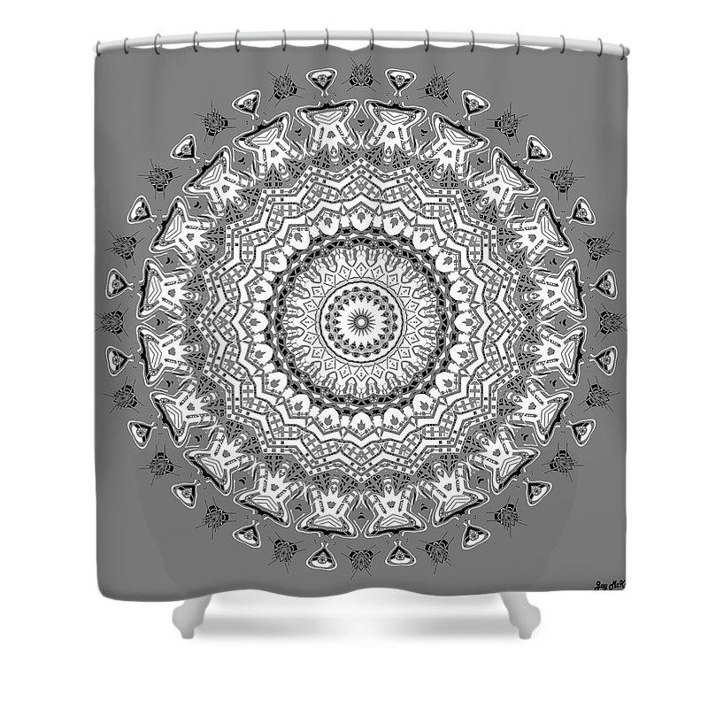 Digital Shower Curtain featuring the digital art The White Mandala No. 5 by Joy McKenzie