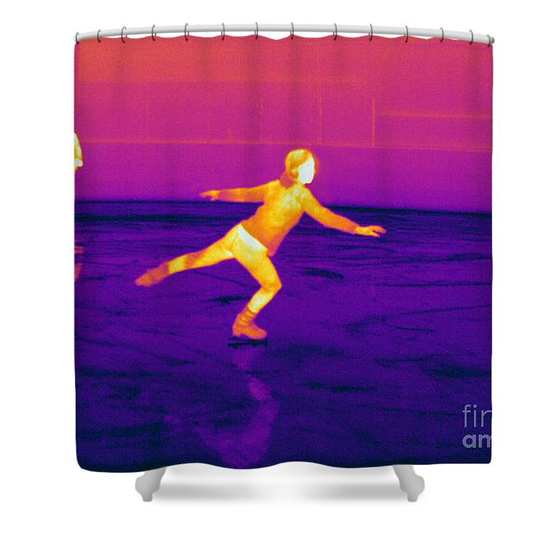Thermogram Shower Curtain featuring the photograph Thermogram Of A Skater by Ted Kinsman