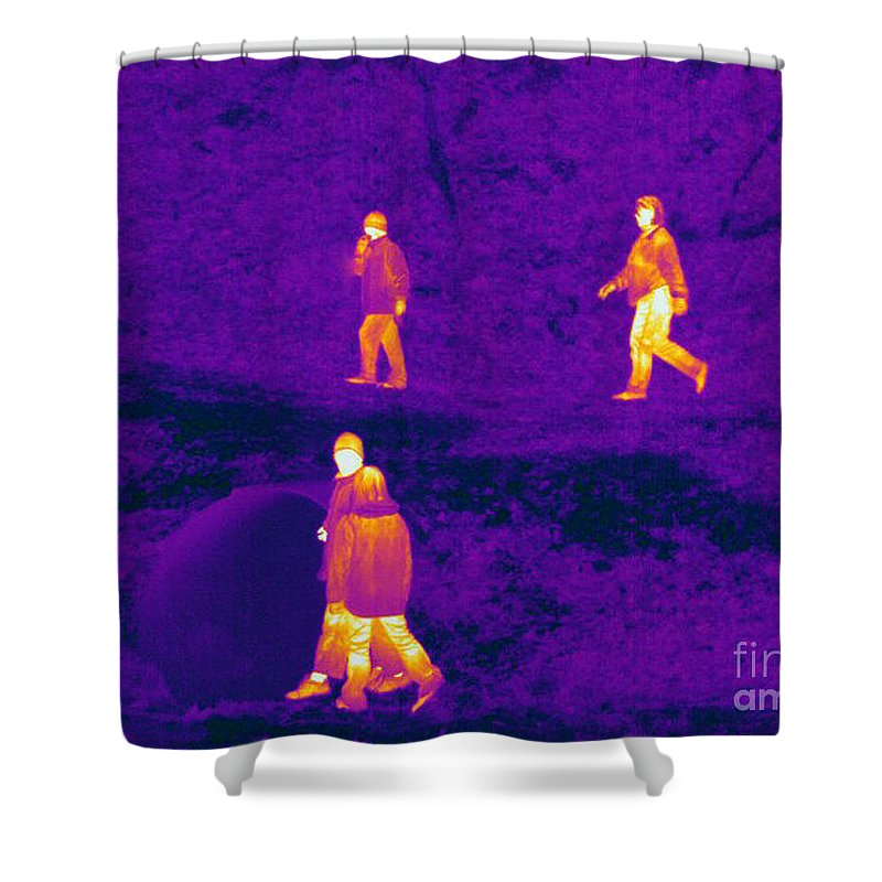Thermogram Shower Curtain featuring the photograph Thermogram Of People Walking by Ted Kinsman