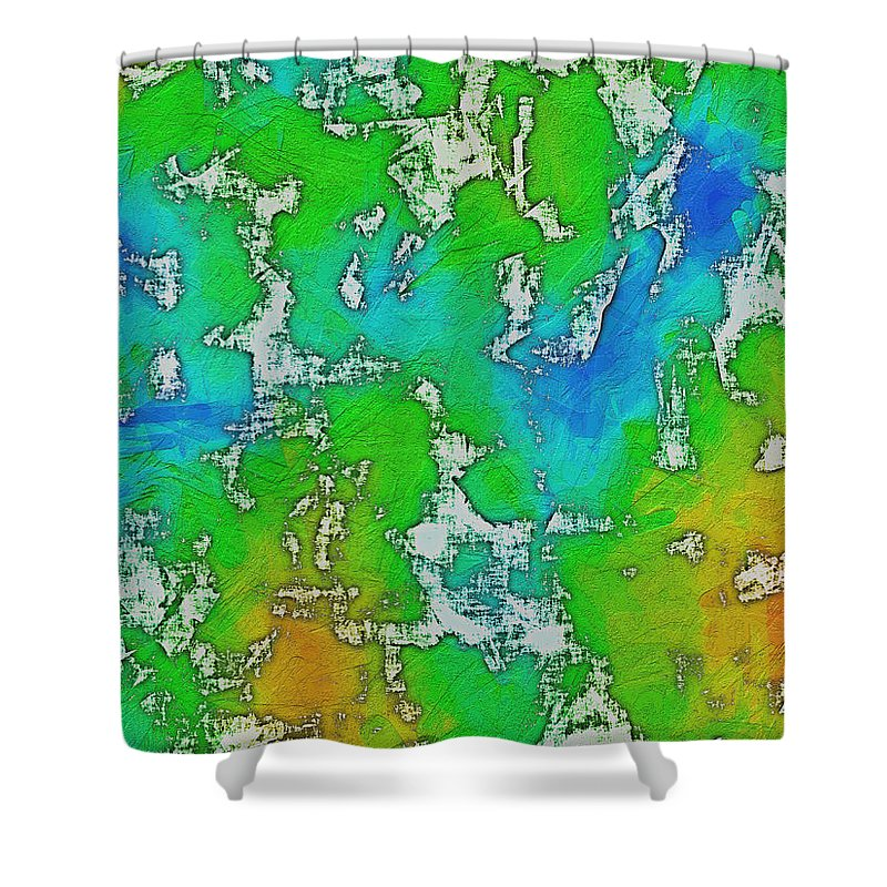 Abstract Shower Curtain featuring the digital art Thick Paint by Debbie Portwood