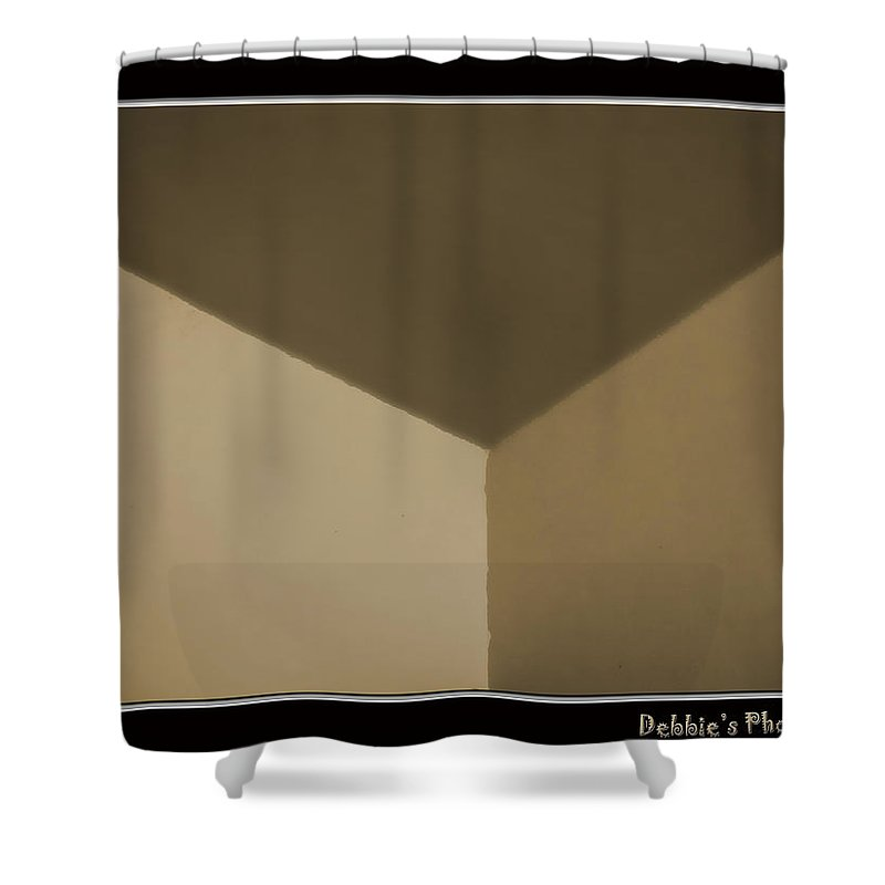 Box Shower Curtain featuring the photograph Think Outside Or Inside The Box  Optical Illusion by Debbie Portwood