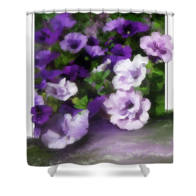 Greeting Card Shower Curtain featuring the painting Thinking of You by Susan Kinney